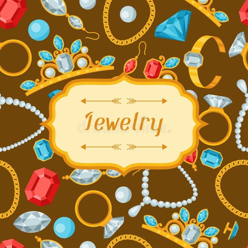 Комплект красивых ювелирных изделий и драгоценных камней иллюстрация вектора