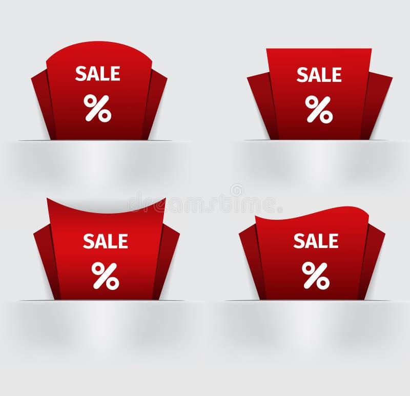 Комплект красного ценника стикера процентов продажи иллюстрация штока