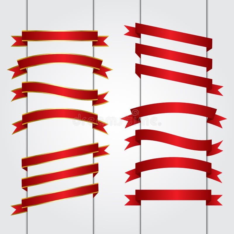Комплект красной векторной графики знамен ленты бесплатная иллюстрация
