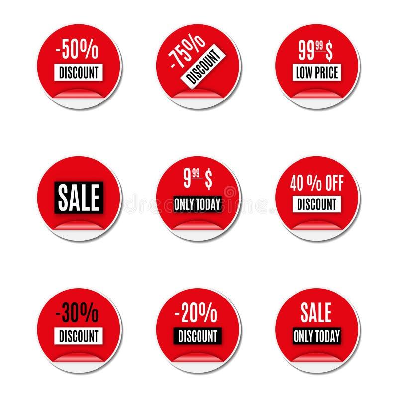Комплект красных бумажных стикеров скидки и продажи, иллюстрации вектора иллюстрация штока