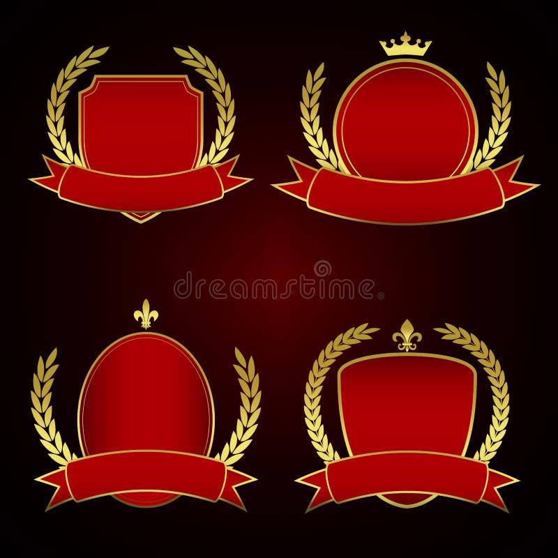 Комплект красных королевских ярлыков с золотыми листьями подкладки и лавра бесплатная иллюстрация