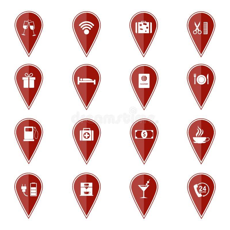 Комплект красных указателей карты с значками спорта также вектор иллюстрации притяжки corel иллюстрация вектора