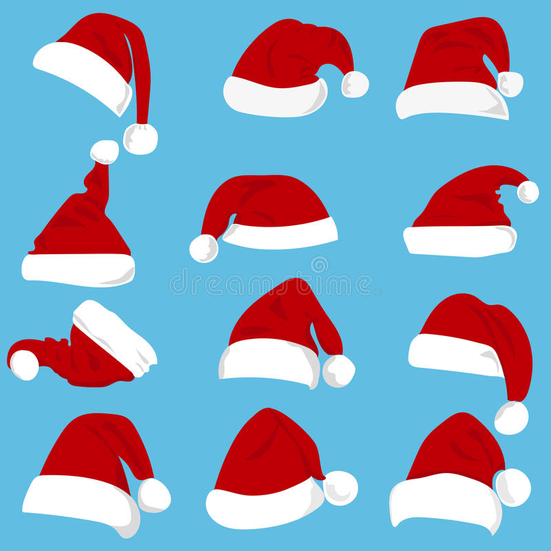 Комплект красных шляп Санта Клауса изолированных на белой предпосылке иллюстрация вектора