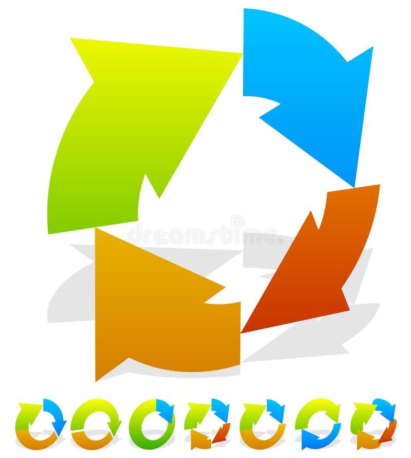 Download Комплект красочного кругового значка стрелки 7 Иллюстрация вектора - иллюстрации насчитывающей радиально, цветасто: 81814578