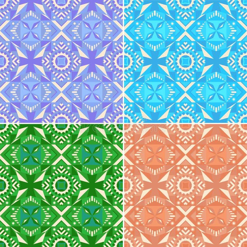 Комплект красочных безшовных геометрических картин традиционно бесплатная иллюстрация