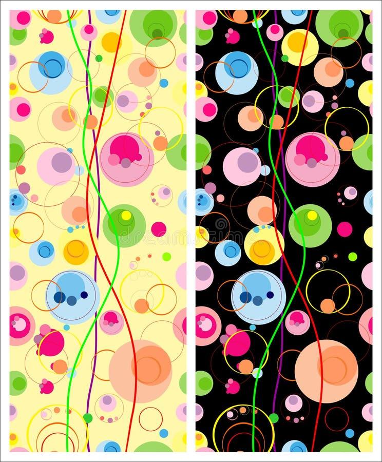 Комплект красочных безшовных картин с круглыми элементами на светлой и темной предпосылке бесплатная иллюстрация
