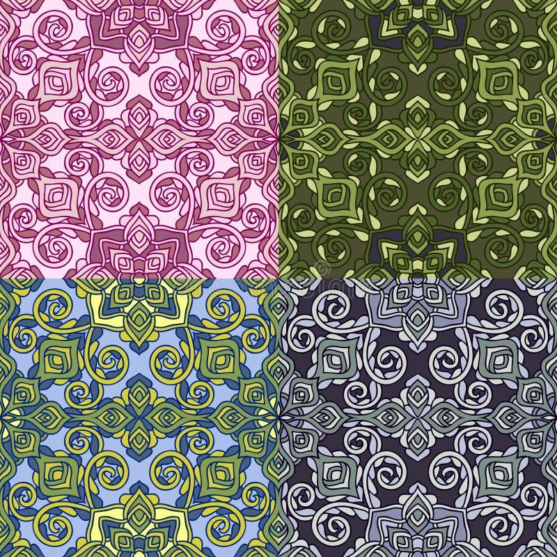 Download Комплект 4 красочных безшовных картин EPS-8 Иллюстрация вектора - иллюстрации насчитывающей элемент, декоративно: 41659068