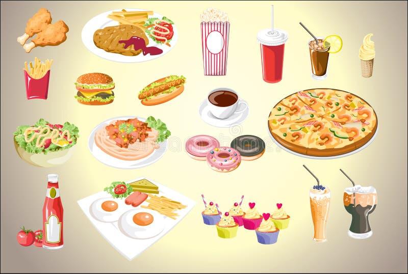 Комплект красочных значков еды файл eps10 вектора иллюстрация вектора