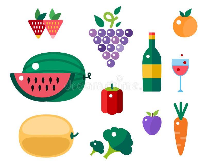 Комплект красочных значков фрукта и овоща шаржа vector иллюстрация иллюстрация штока