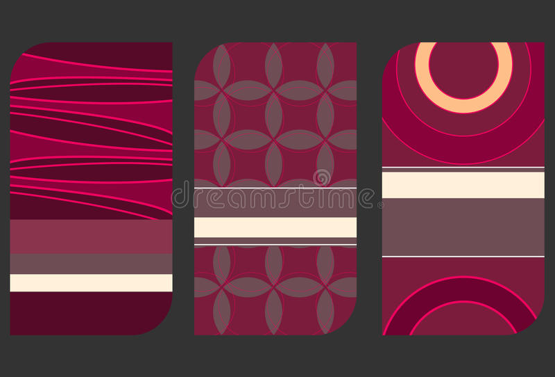 Комплект красочных иллюстраций карточки иллюстрация вектора