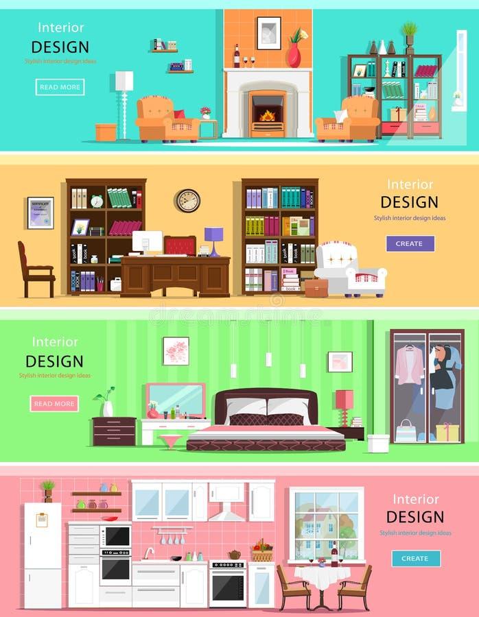 Комплект красочных комнат дома дизайна интерьера вектора с значками мебели: живущая комната, спальня, кухня и домашний офис