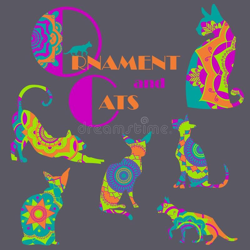 Комплект красочных котов с орнаментом мандалы бесплатная иллюстрация