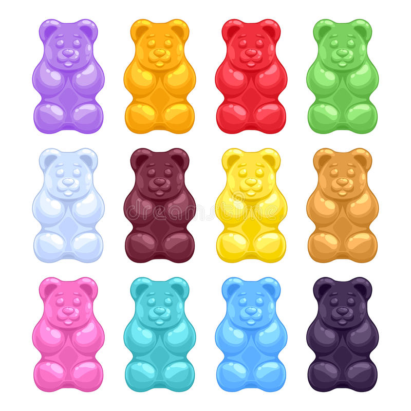 Комплект красочных красивых камедеобразных медведей бесплатная иллюстрация