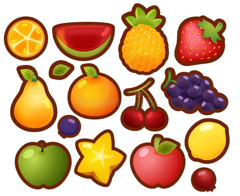 Комплект красочных лоснистых значков плодоовощ шаржа, апельсин собрания, w иллюстрация вектора