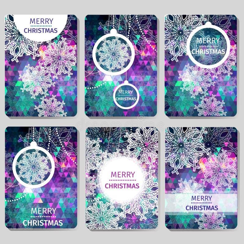 Комплект 6 красочных предпосылок с Рождеством Христовым и счастливого Нового Года полигональных с снежинками, иллюстрация штока