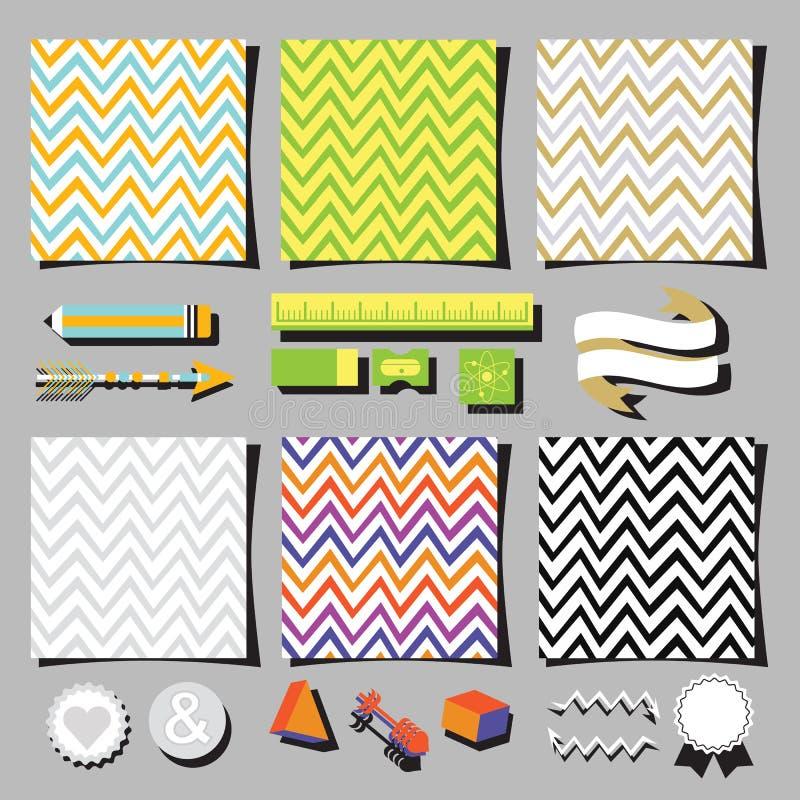 Комплект красочных элементов дизайна карточек квадрата картины шеврона бесплатная иллюстрация