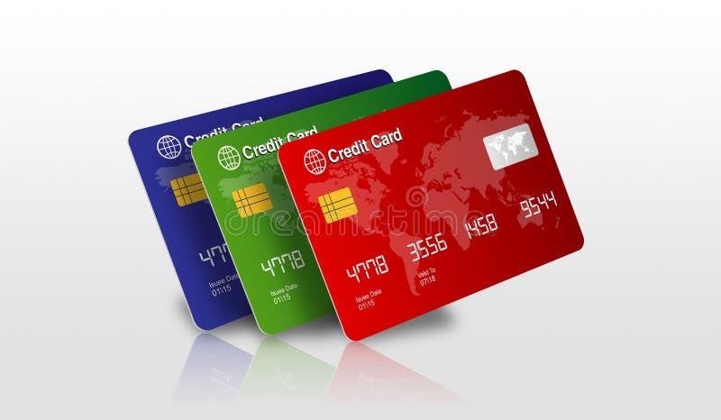 Комплект кредитных карточек изолированных на белизне с иллюстрация штока