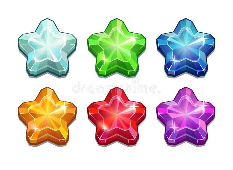 Комплект кристаллических звезд иллюстрация штока