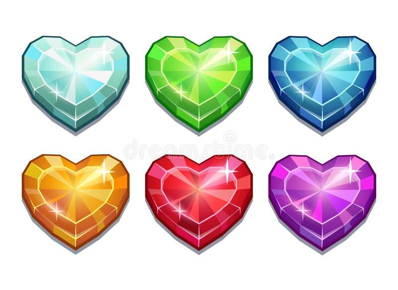 Комплект кристаллических сердец бесплатная иллюстрация