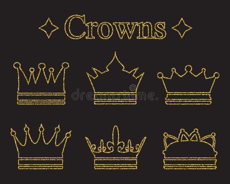 Комплект крон в стиле doodle Текстура яркого блеска золота Золотое влияние лоска Сверкная diadems, тиары бесплатная иллюстрация