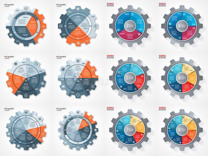 Комплект круга стиля шестерни дела вектора infographic иллюстрация вектора