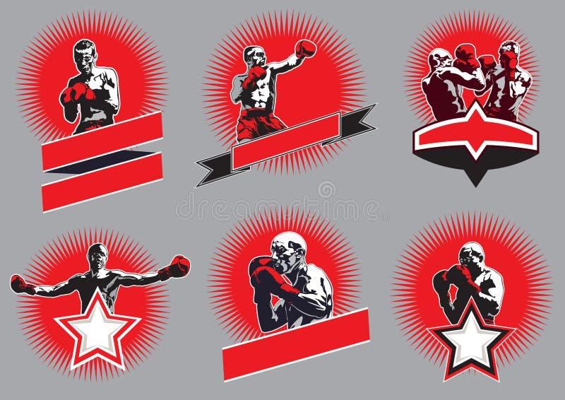 Комплект круговых боевых значков или эмблем спорта бесплатная иллюстрация