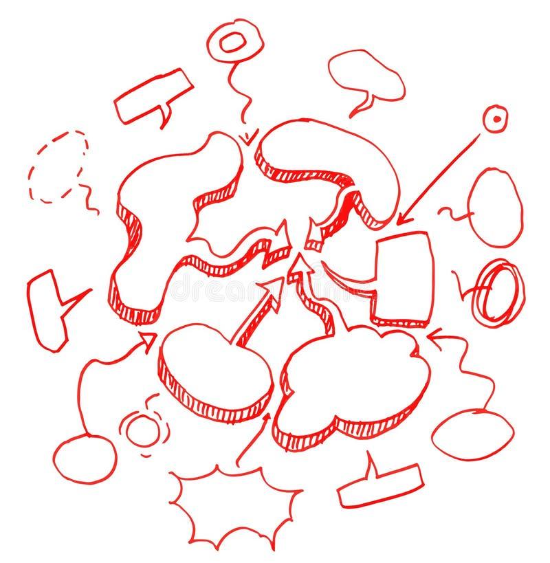 Комплект кругов и речи пузыря нарисованных рукой. иллюстрация вектора