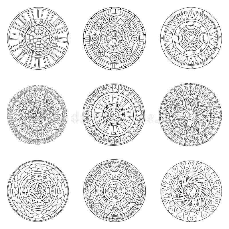 Комплект кругов, элементов doodle дизайна логотипа иллюстрация вектора