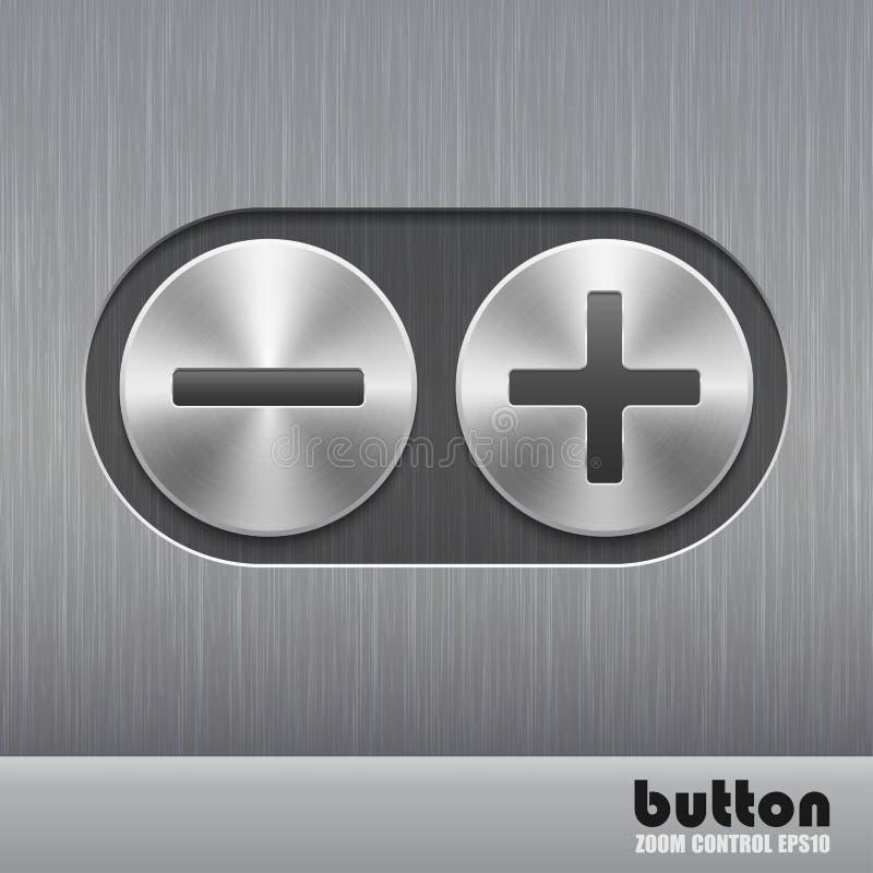 Комплект круглой кнопки металла с почищенной щеткой текстурой и иллюстрация положительной величины и минуса для звука увеличения  бесплатная иллюстрация