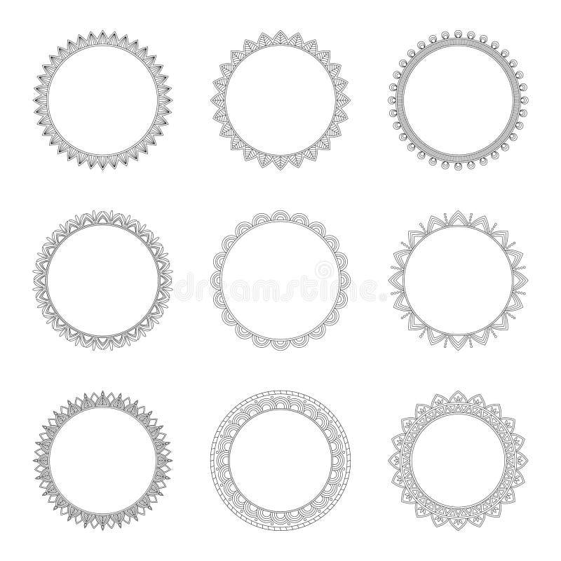Комплект круглых декоративных рамок, иллюстрация вектора бесплатная иллюстрация