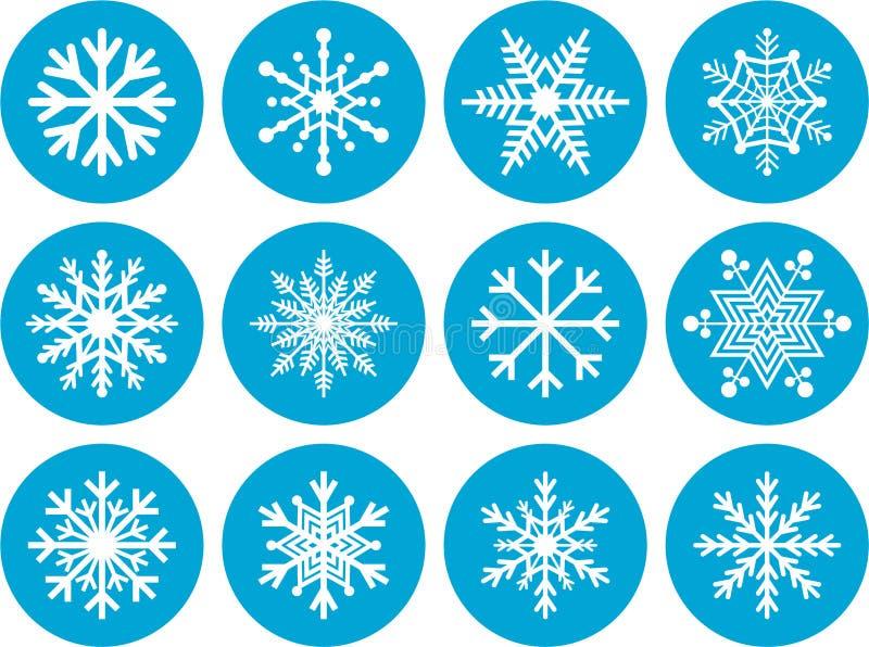 Комплект круглых значков снежинки иллюстрация вектора