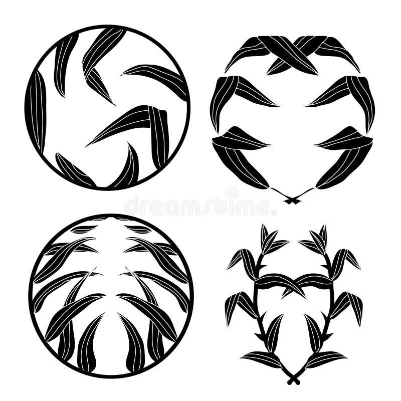 Комплект круглых значков с бамбуком бесплатная иллюстрация