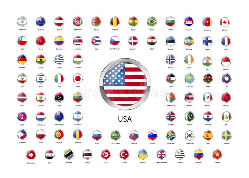 Комплект круглых лоснистых значков с металлической границей флагов суверенных государств мира иллюстрация штока