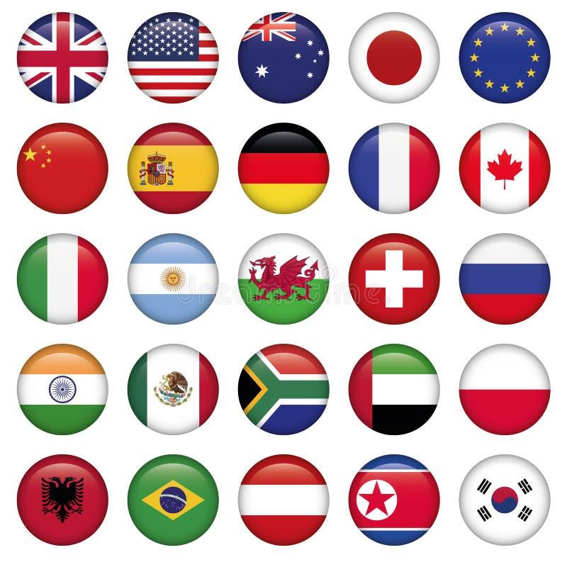 Комплект круглых положений верхней части мира флагов иллюстрация штока