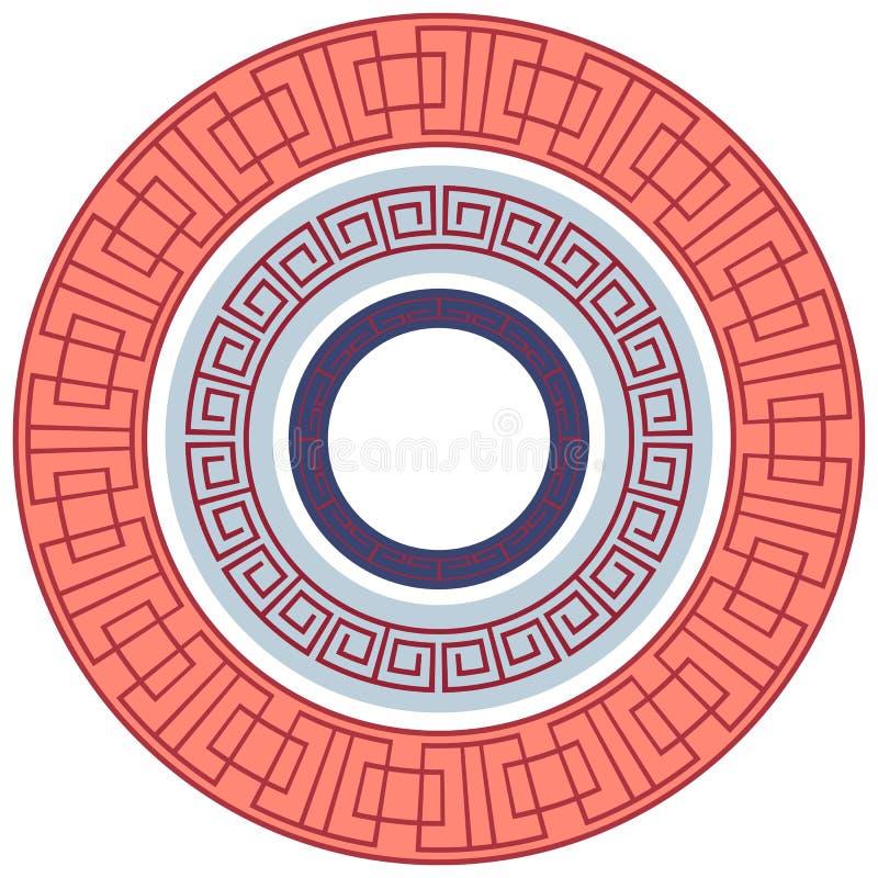 Комплект круглых рамок с греческой картиной иллюстрация штока