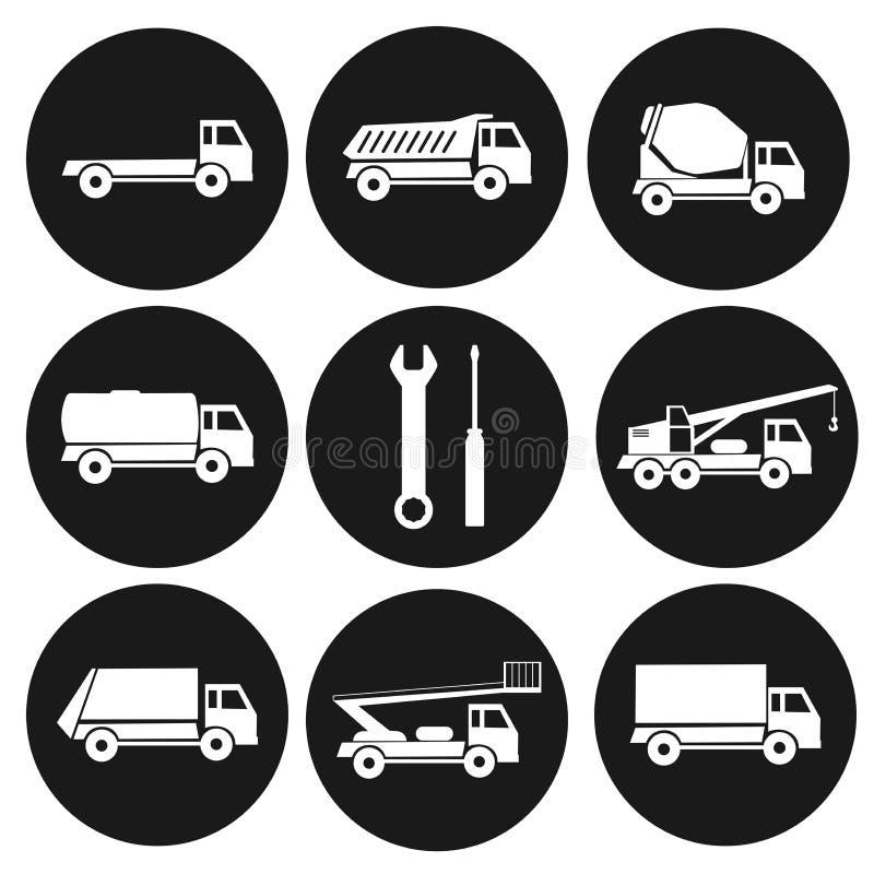 Комплект 9 круглых черных значков на типах промышленных тележек Собрание строительных машин иллюстрация вектора