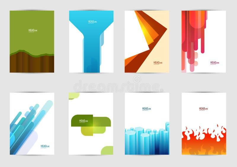 Комплект крышек шаблонов для рогульки, брошюры, знамени, листовки, книги, размера A4 Дизайн плана крышки бесплатная иллюстрация