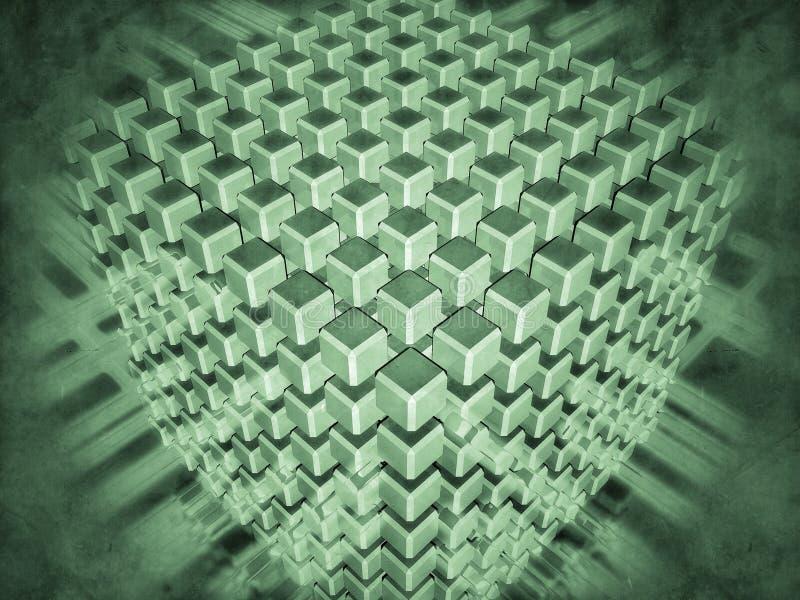 Комплект кубов окруженных с светящими подачами иллюстрация вектора