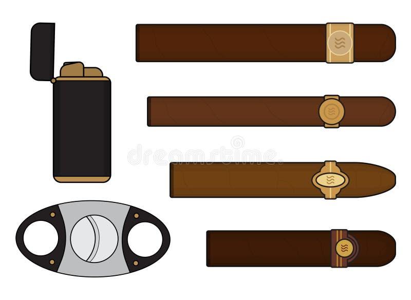 Комплект курильщика сигары иллюстрация вектора