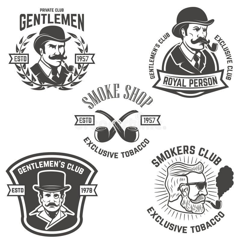 Комплект курильщиков бьет, джентльмен бьет ярлыки элементы дизайна для иллюстрация вектора