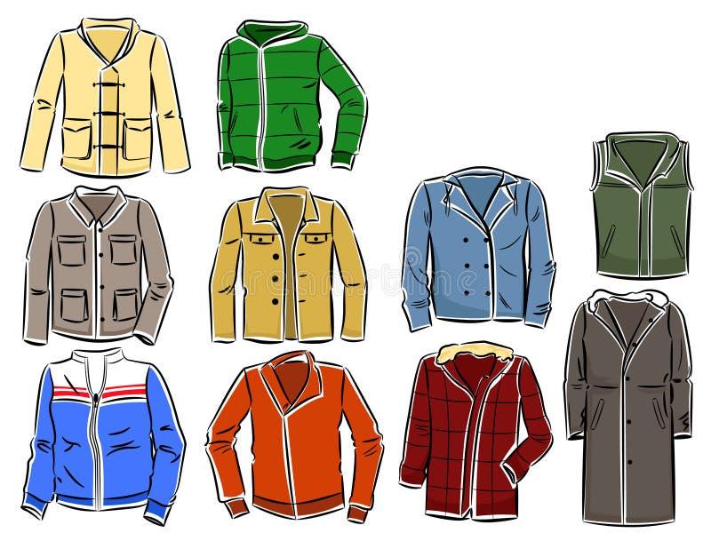 Комплект курток людей иллюстрация штока