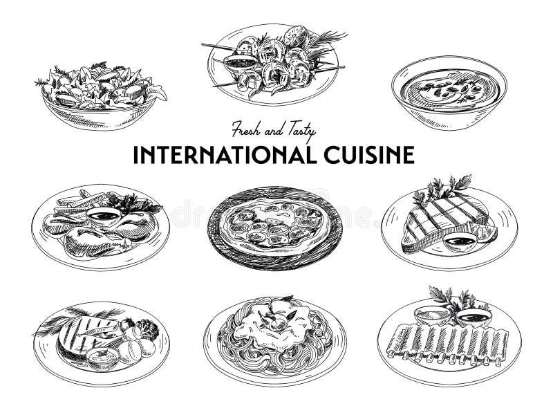 Комплект кухни эскиза вектора нарисованный рукой международный иллюстрация штока