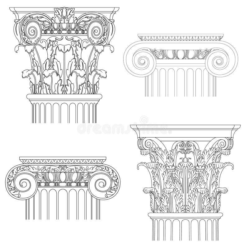 Комплект классицистических столбцов бесплатная иллюстрация