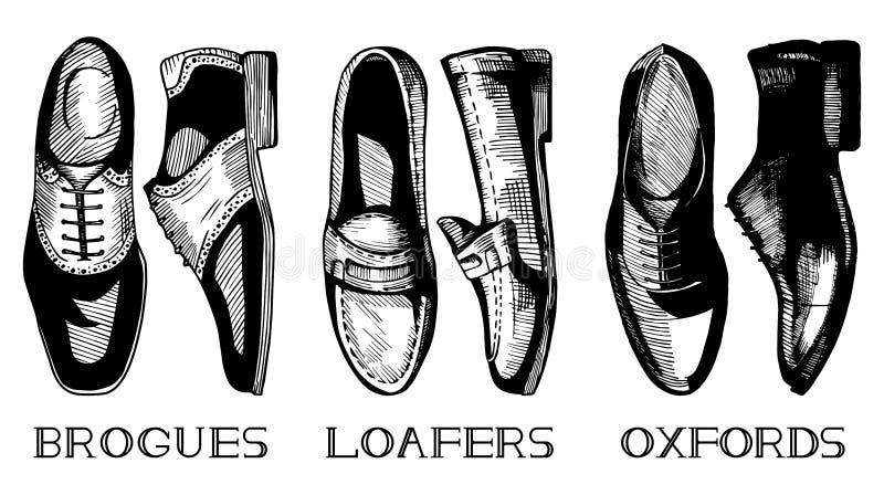 Комплект классических ботинок men's иллюстрация вектора