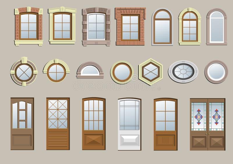 Комплект классических окон иллюстрация вектора
