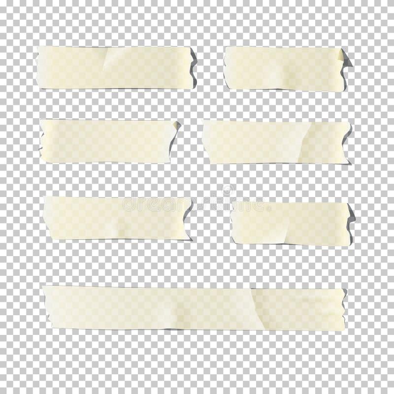 Комплект клейкой ленты на прозрачной предпосылке иллюстрация вектора реалистическая иллюстрация вектора