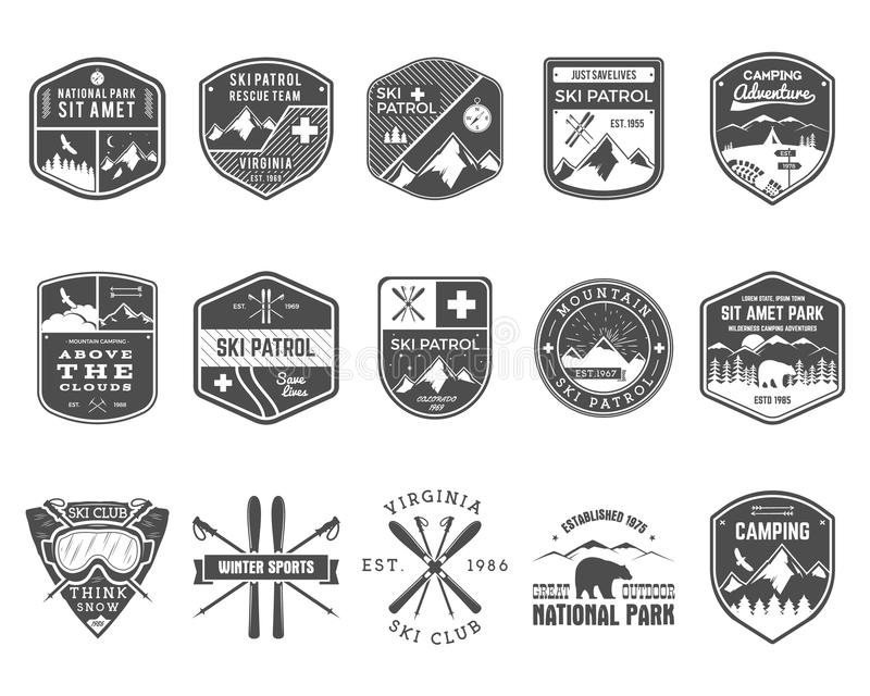 Комплект клуба лыжи, ярлыков патруля Винтажная гора иллюстрация вектора
