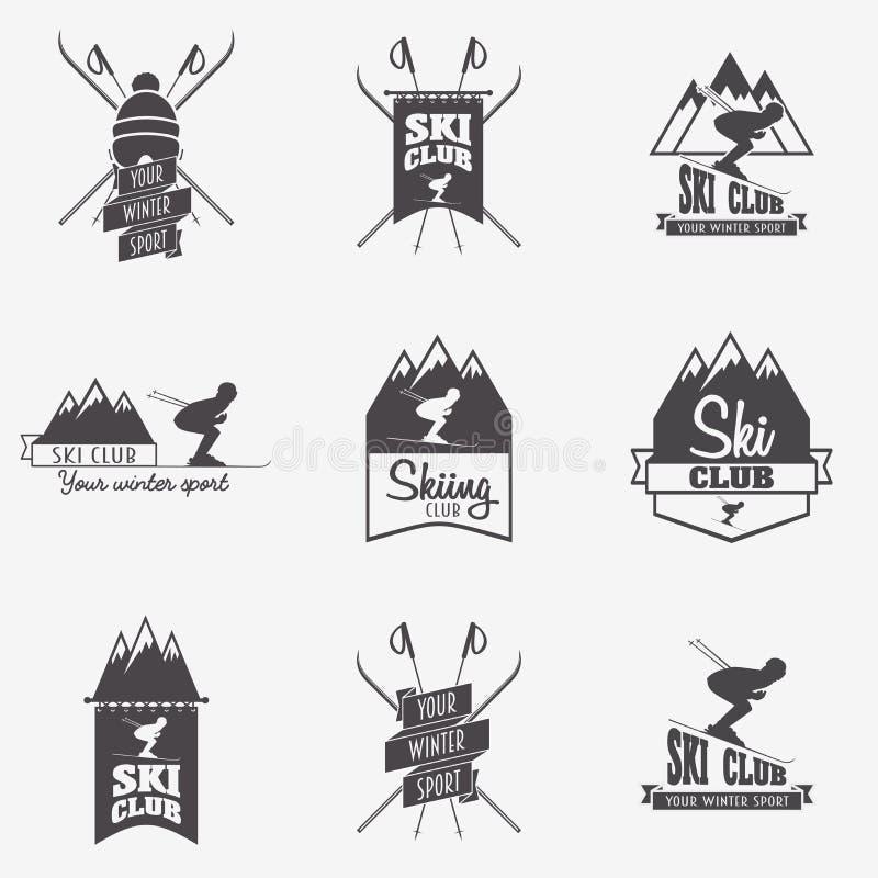 Комплект клуба лыжи, ярлыков патруля Пачка винтажных значков исследователя лагеря зимы горы иллюстрация вектора