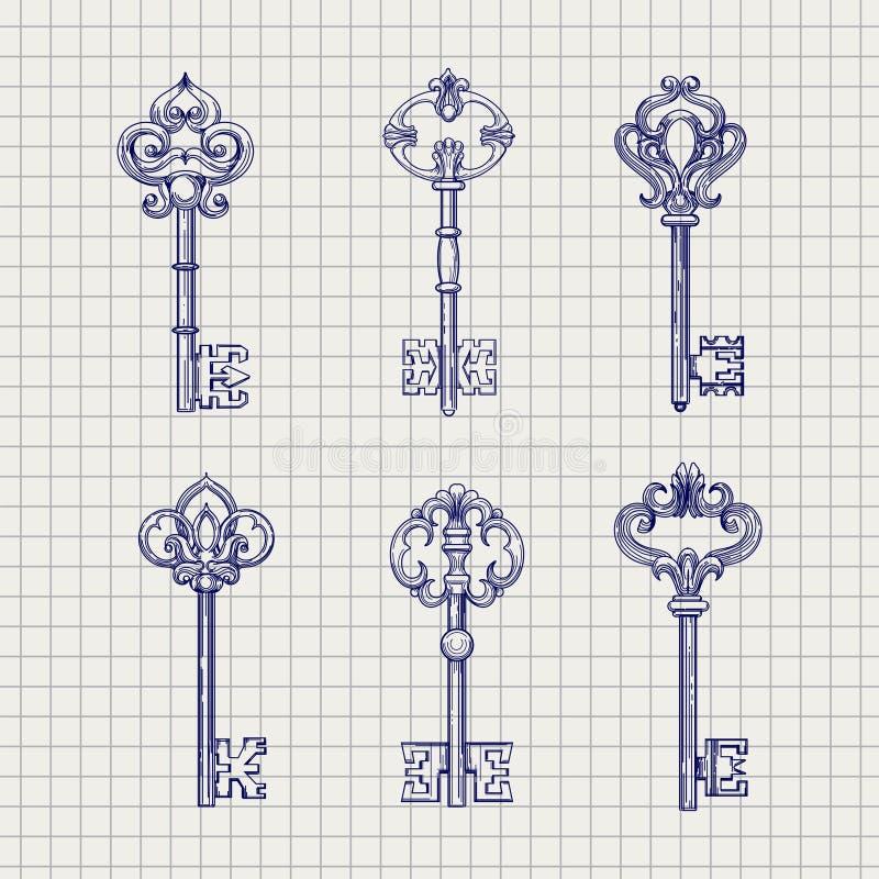 Комплект ключей ornamental эскиза иллюстрация вектора