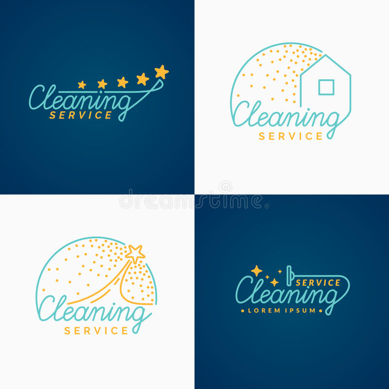 Комплект Логотип чистки бесплатная иллюстрация
